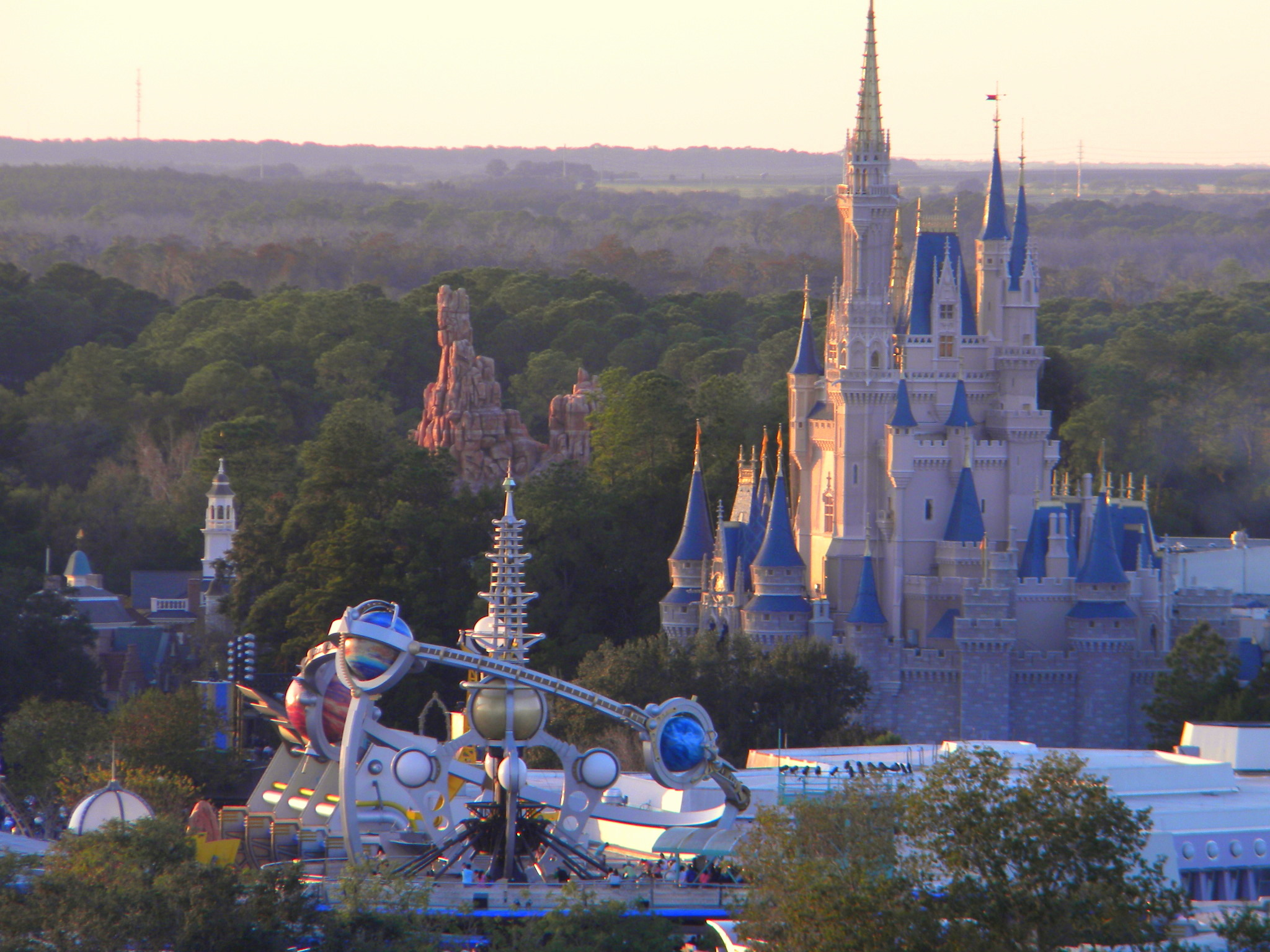 Tomorrowland, Disney's Astro Orbiter, Disney rides, the Magic Kingdom, Cinderella Castle