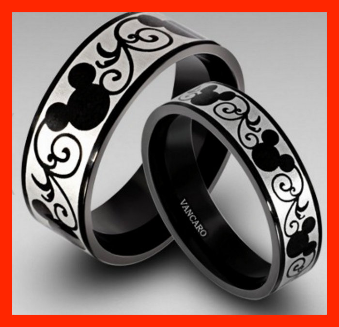 Vancaro's Titanium Disney Inspired His & Hers Rings